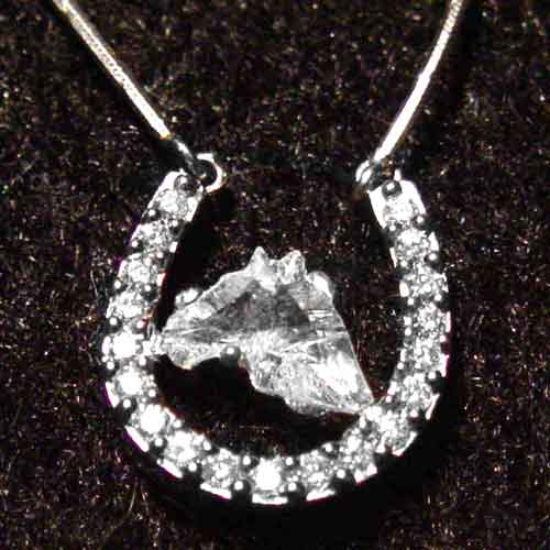 Platinum and diamond horseshoe necklace with horse head cut diamond in cent