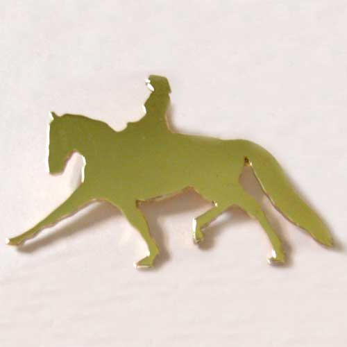 gold solid Dressage rider and horse pendant