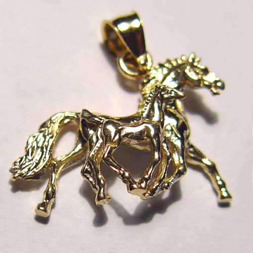 gold 3D mare and foal trotting pendant