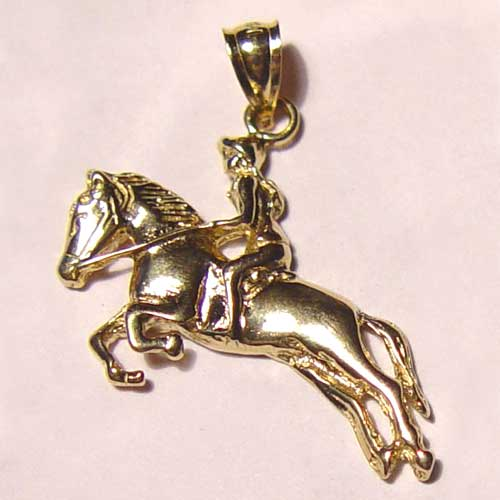 gold hunter jumper female rider and horse pendant