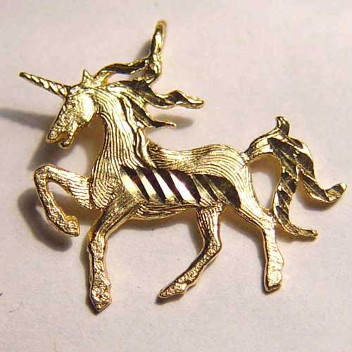 Diamond cut prancing unicorn charm/pendant