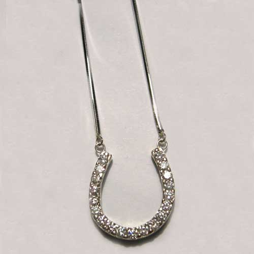 Custom white gold diamond horseshoe necklace