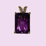 14 kt.y.g. emerald cut amethyst and diamond pendant