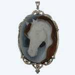 Sterling Silver large banded Agate cameo pendant