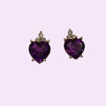 14 kt.y.g. amethyst and diamond earrings