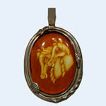 Sterling Silver Amber cameo pendant