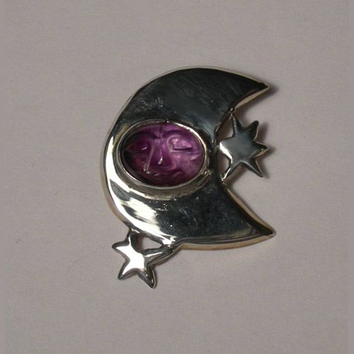 Sterling Silver Amethyst moon and stars pendant