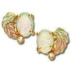 Landstrom's Black Hills Gold diamond and opal post earrings
