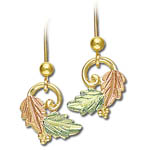 Landstrom's Black Hills Gold grape and leaf dangle earrings