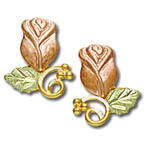 Landstrom's Black Hills Gold Rose post earrings