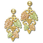 Landstrom's Black Hills Gold grape and leaf cluster dangle earrings