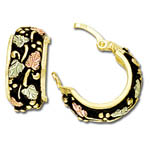 Landstrom's Black Hills Gold huggie style hoop earrings with antiquing