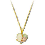 Landstrom's Black Hills Gold opal and leaf necklace