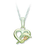 Landstrom's Black Hills Gold Sterling Silver dolphin heart necklace