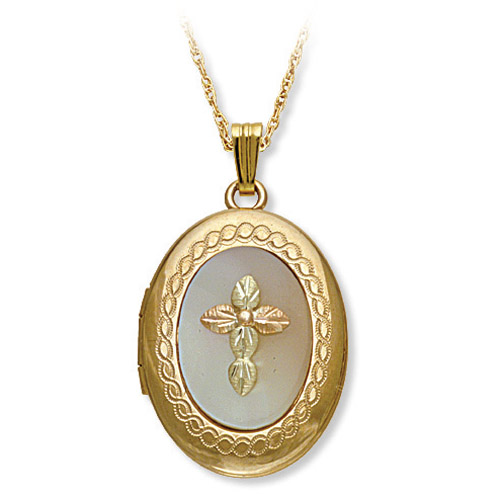 Landstrom's Black Hills Gold locket with cross over Mother of Pearl