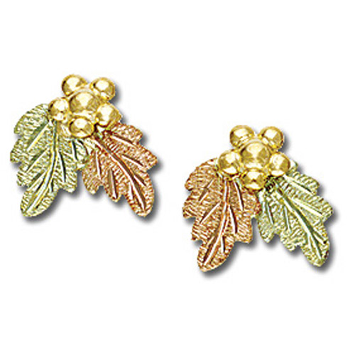 Landstrom's Black Hills Gold grape and leaf post earrings