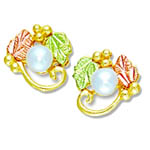 Landstrom's Black Hills Gold pearl and grape and leaf earrings