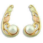 Landstrom's Black Hills Gold pearl and leaf post earrings