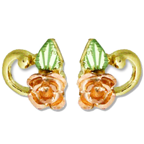Landstrom's Black Hills Gold rose and leaf post earrings
