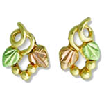 Landstrom's Black Hills Gold open grape and leaf earrings