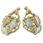 Landstrom's Black Hills Gold Opal and grape and leaf earrings