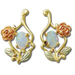 Landstrom's Black Hills Gold Opal and rose and leaf earrings