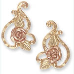 Landstrom's Black HIlls Gold rose and leaf earrings