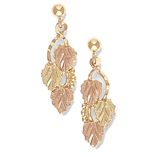 Landstrom's Black Hills Gold dangle grape and leaf earrings