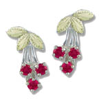Landstrom's Black Hills Gold synthetic rubies and leaf earrings
