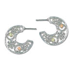 Landstrom's Black Hills Gold Sterling Silver half-hoop earrings