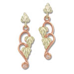Landstrom's Black Hills Gold Rose gold and diamond dangle earrings