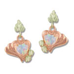 Landstrom's Black Hills Gold Rose gold heart shaped Opal earrings