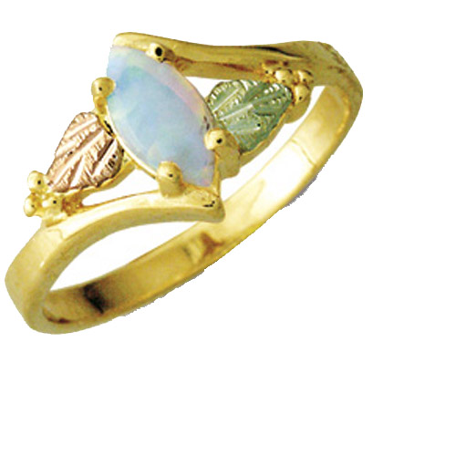 Landstrom's Black Hills Gold Opal and grape and leaf ring