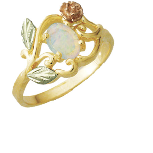 Landstrom's Black Hills Gold Opal and rose ring