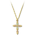 Landstrom's Black Hills Gold grape and leaf cross necklace