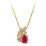 Landstrom's Black Hills Gold red Cubic Zirconia necklace