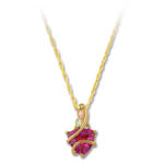Landstrom's Black Hills Gold red trillant cut Cubic Zirconia necklace