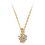 Landstrom's Black Hills Gold trilliant cut white Cubic Zirconia necklace