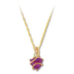 Landstrom's Black Hills Gold purple trilliant cut Cubic Zirconia necklace