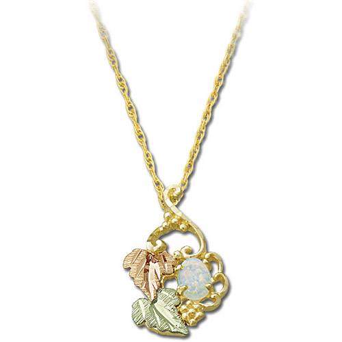 Landstrom's Black Hills Gold grape and leaf Opal necklace