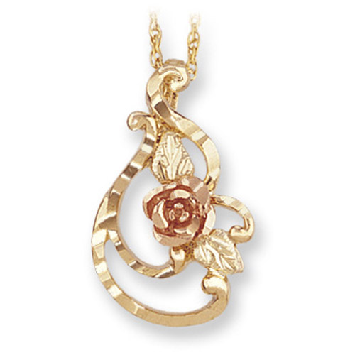Landtrom's Black Hills Gold rose and gold necklace