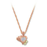Landstrom's Black Hills Gold Rose Gold heart shaped Opal necklace