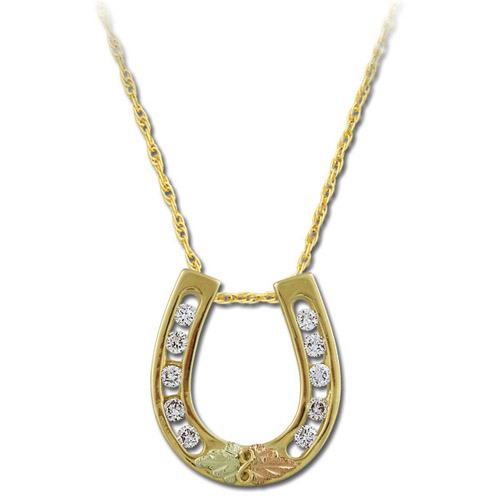 Landstrom's Black Hills Gold diamond horseshoe necklace