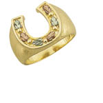 Landstrom's Black Hills Gold grape and leaf horseshoe ring