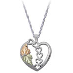 Landstrom's Black Hills Gold Sterling Silver leaf and heart necklace