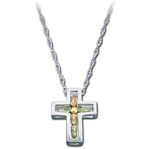 Landstrom's Black Hills Gold Sterling Silver cross necklace
