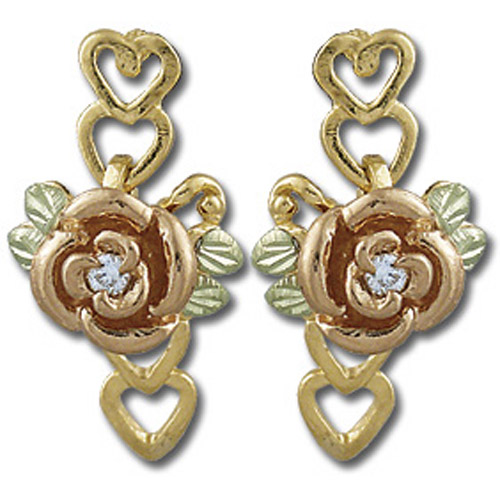 Landstrom's Black Hills Gold rose and heart and diamond earrings