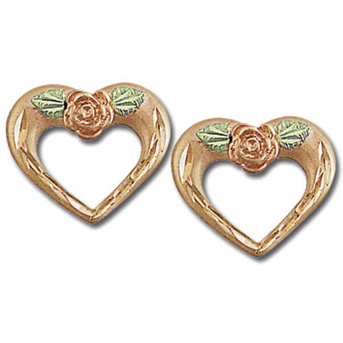 Landstrom's Black Hills Gold Rose Gold heart and rose earrings