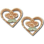 Landstrom's Black Hills Gold Rose Gold heart and flower earrings