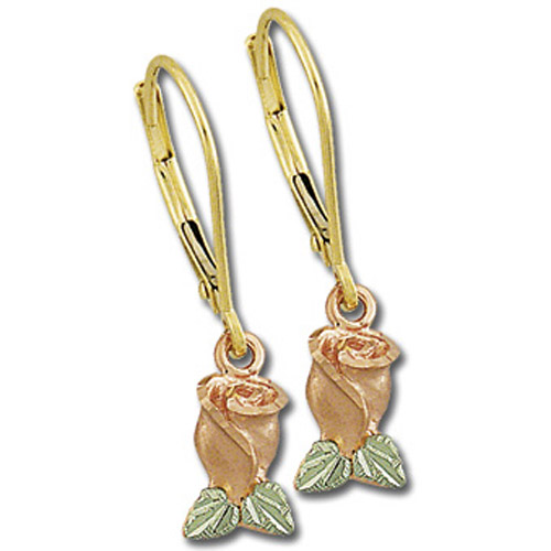 Landstrom's Black Hills Gold rose bud dangle earrings
